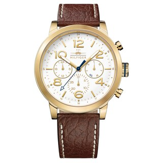 Tommy Hilfiger Jake Men's 1791231 Brown Cream Stitching Strap with White Dial Leather Watch