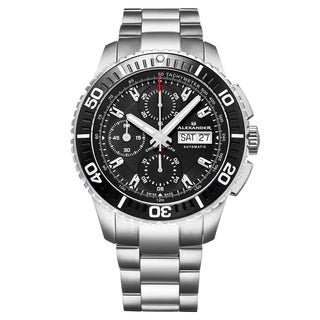 Alexander Men's Swiss Made Automatic Chronograph Stainless Steel Link Bracelet Watch - Black/silver