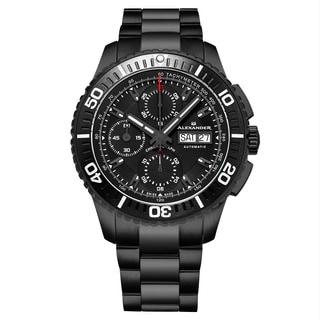 Alexander Men's Swis Made Automatic Chronograph Black Link Bracelet Watch
