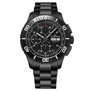 Alexander Men's Swis Made Automatic Chronograph Black Link Bracelet Watch