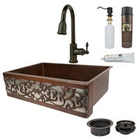 Premier Copper Products Scroll Farmhouse Single Basin Kitchen Sink, Faucet and Accessories Package