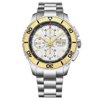 Alexander Men's Swiss Made Automatic Chronograph Stainless Steel Link Bracelet Watch - silver