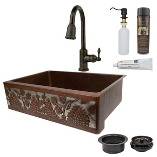 Premier Copper Products Vinyard Single Basin Kitchen Sink, Faucet and Accessories Package