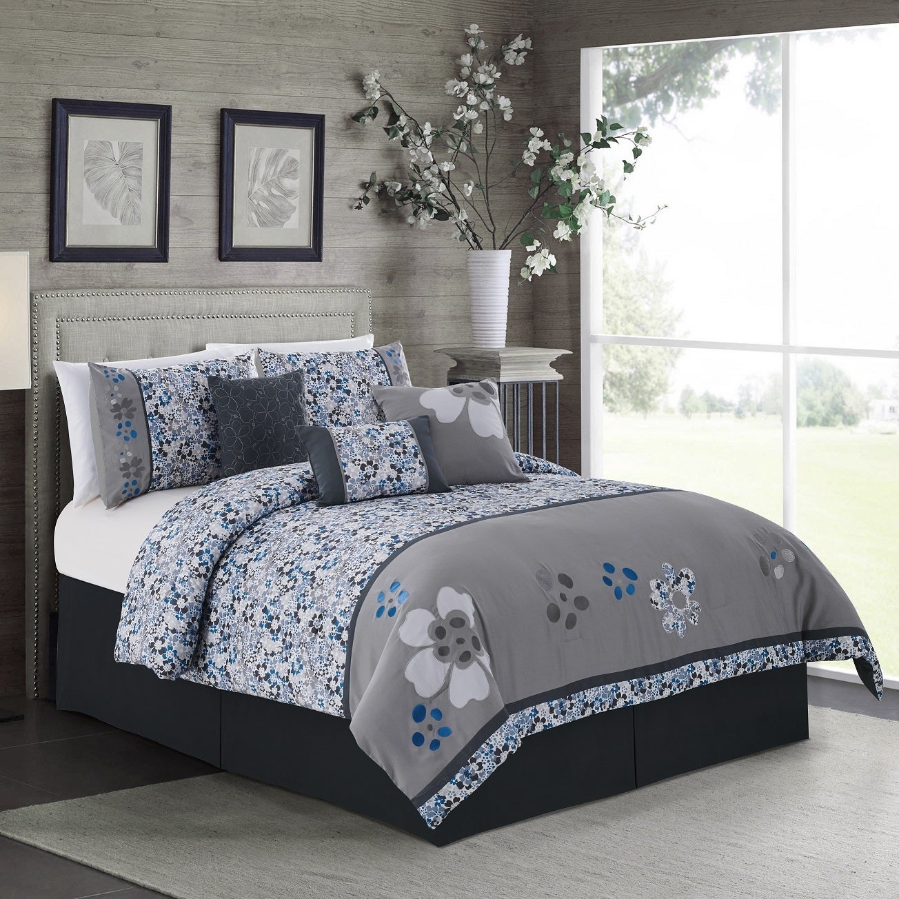 Elight Home Daisy Embroidered 7 Piece Comforter Set (King...