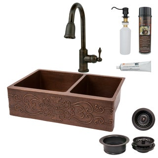 Premier Copper Products Hammered Copper Kitchen Sink, Faucet, and Accessories Package