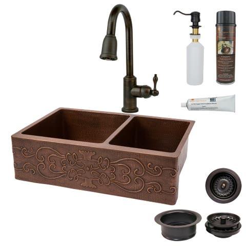 Handmade Hammered Copper Kitchen Sink with Faucet and Accessories Package (Mexico)