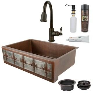 Premier Copper Products Fleur de Lis Farmhouse Single Basin Kitchen Sink, Faucet and Accessories Package