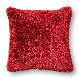 Solid Ribbon Shag Down Feather or Polyester Filled 22-inch Throw Pillow or Pillow Cover