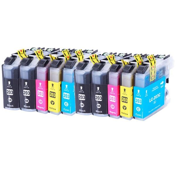 Ink Cartridge Set for Brother LC203 XL MFC J460DW J480DW J485DW (Set of 10)