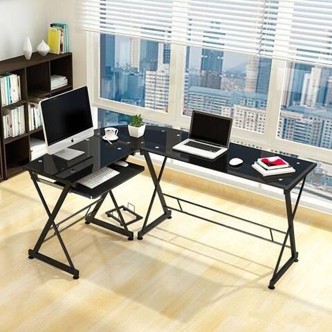 Porch & Den Champlain Glass L-shaped PC Laptop Computer Desk w/Keyboard Tray