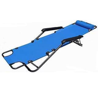 Portable Blue Steel Dual Purposes Extendable Folding Reclining Chair