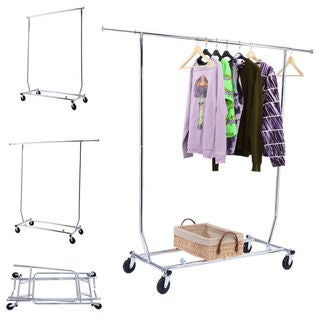 Portable Steel Silver-color Single-bar Clothes Rack