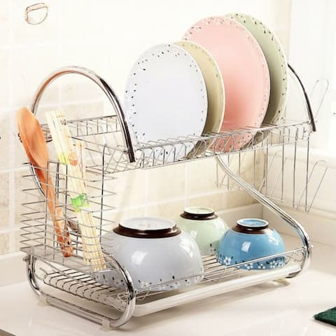 S-shaped Silvertone Aluminum Multifunctional Dual-layer Bowls/Dishes/Chopsticks/Spoons Collection