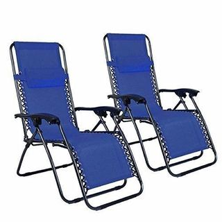Plum Blossom Saucer Blue Iron Frame Locking Portable Folding Chairs (Set of 2)