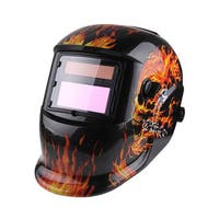 KLT-107 Skull Pattern Solar Powered Auto Darkening Welding Helmet Black, Red, Yellow