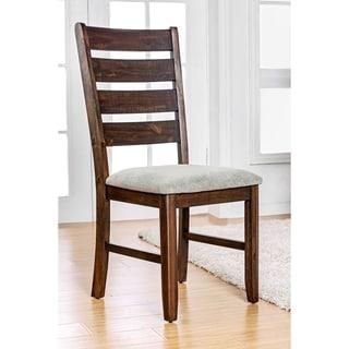 Furniture of America Morlo Rustic Slatted Fabric Walnut Dining Chair (Set of 2)