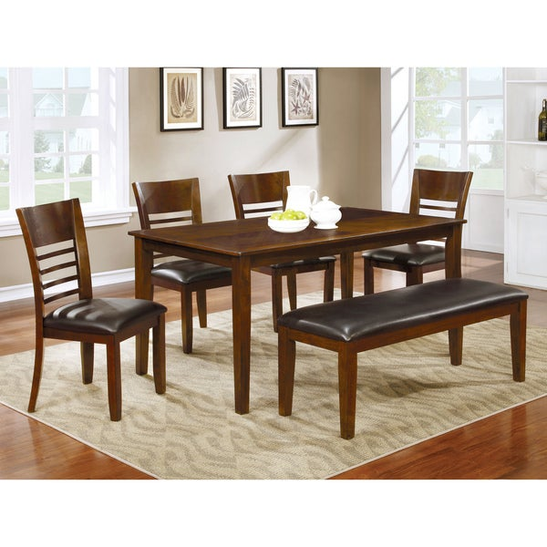 Charming Furniture Of America Leonard Leatherette Brown Cherry Dining Bench   Free  Shipping Today   Overstock.com   21090868