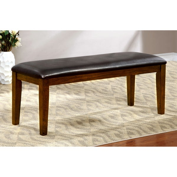 Furniture Of America Leonard Leatherette Brown Cherry Dining Bench