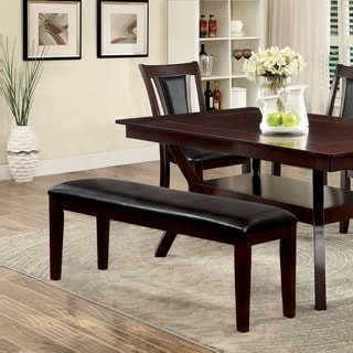 Furniture of America Dionne Transitional Leatherette Dark Cherry 48-inch Dining Bench