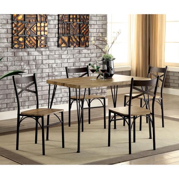 Furniture Of America Hathway Industrial 5 Piece Dark Bronze Small Dining Set