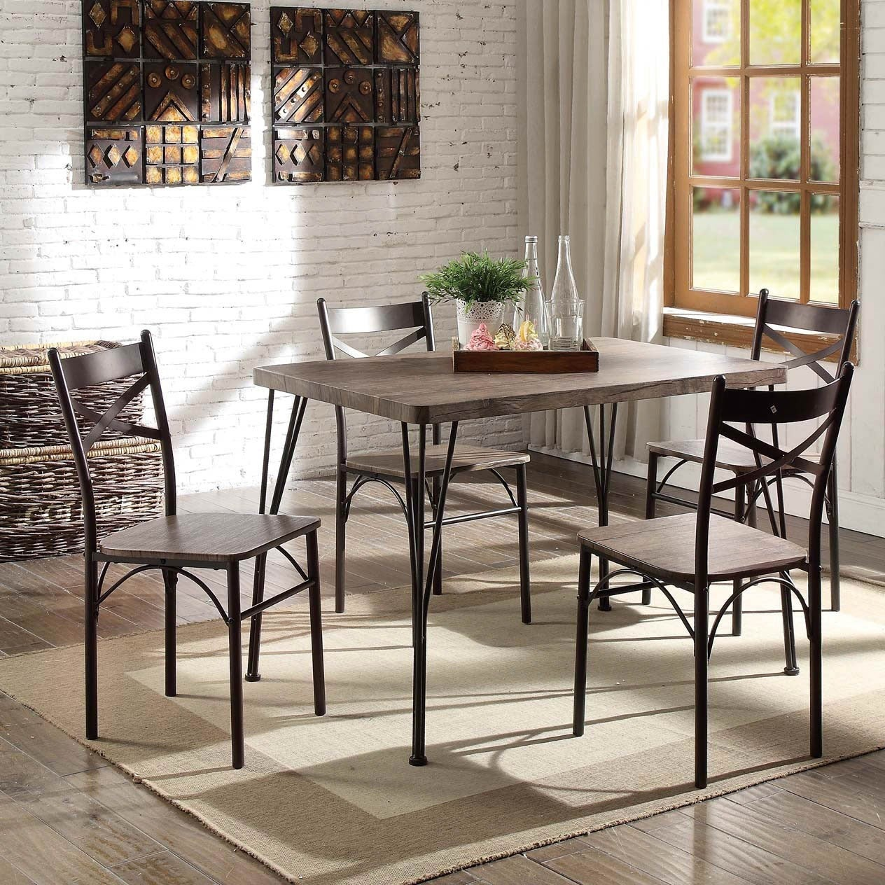 Furniture Of America Hathway 5 Piece Dark Bronze Small Dining Set