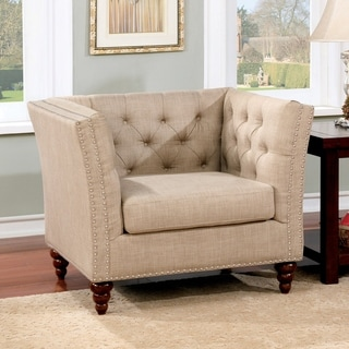 Furniture of America Cerona Contemporary Tuxedo Style Beige Tufted Linen Arm Chair