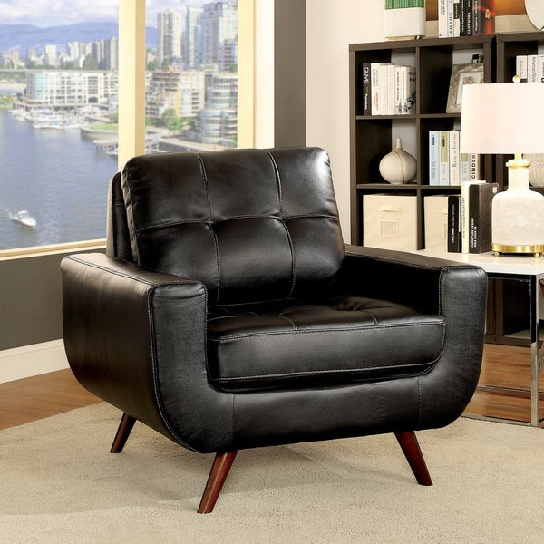 Furniture of America Garcia Mid-Century Modern Tufted Leather Gel Black Chair & Shop Furniture of America Garcia Mid-Century Modern Tufted Leather ...