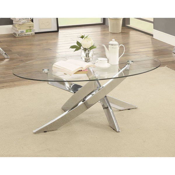 Furniture Of America Propel Modern Gl Top Chrome Oval Coffee Table