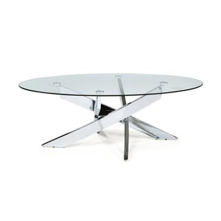 Furniture Of America Propel Modern Glass Top Chrome Oval Coffee Table