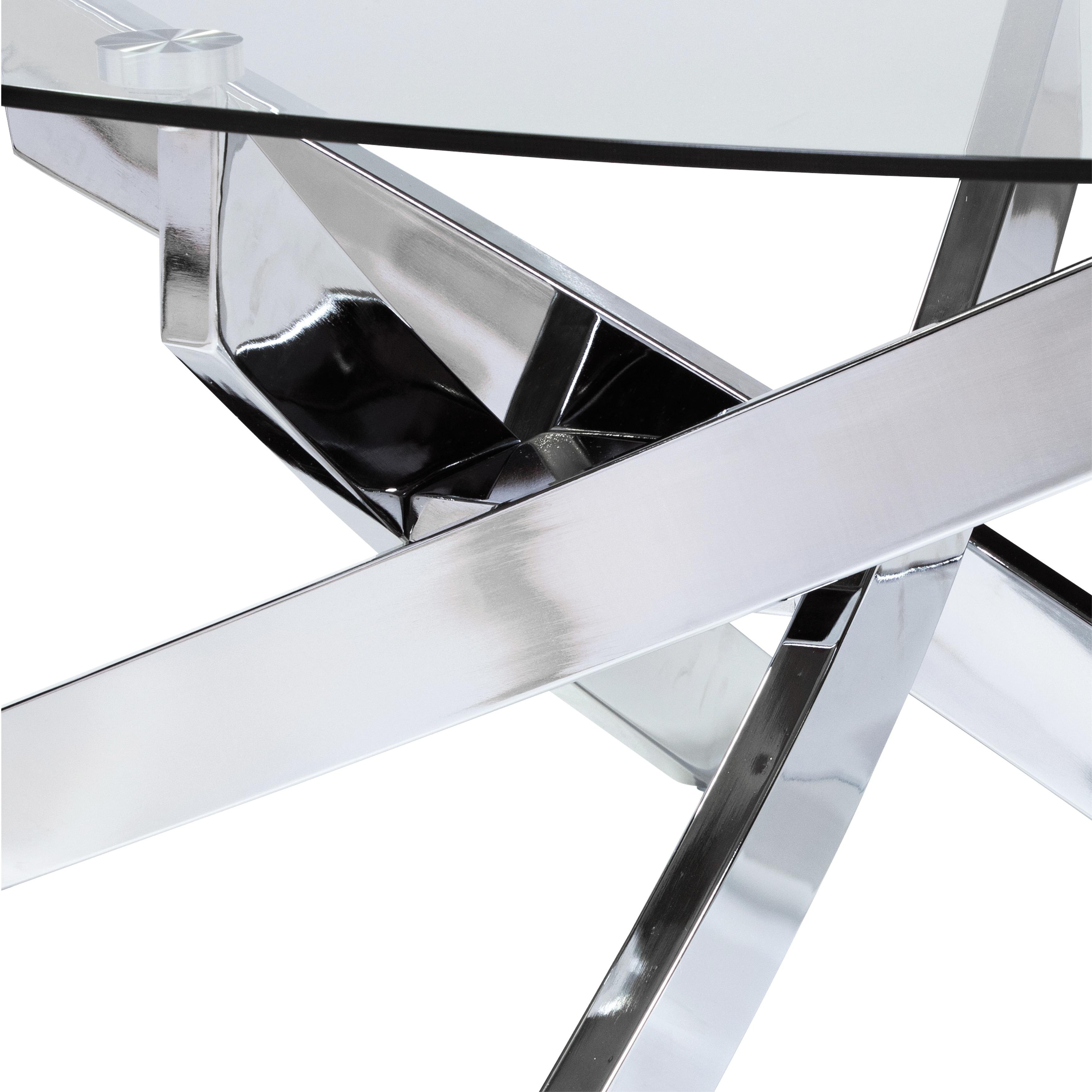 Furniture Of America Dess Modern Chrome Metal Oval Coffee Table