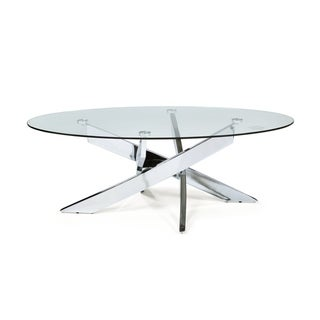 Furniture of America Dess Modern Chrome Metal Oval Coffee Table