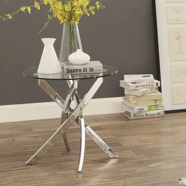 Furniture Of America Propel Modern Glass Top Chrome Round End Table