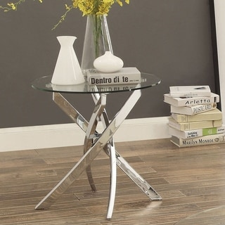 Furniture of America Dess Modern Chrome Metal X-cross Round End Table