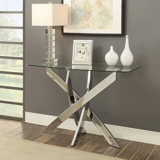 Furniture of America Propel Modern Glass Top Chrome Sofa Table