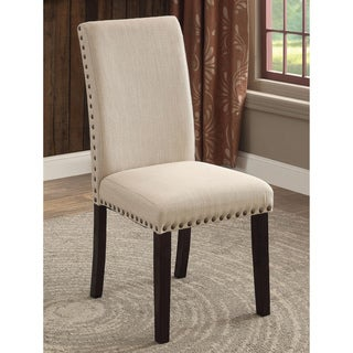 Furniture of America Denilia Contemporary Ivory Fabric Parson Dining Chairs (Set of 2)