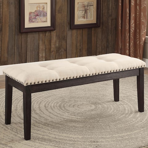 Carbon Loft Villamar Ivory Tufted Fabric Dining Bench