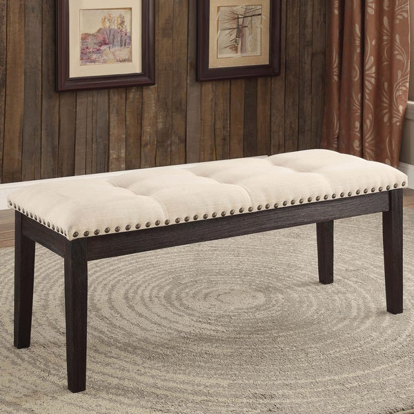 Phenomenal Carbon Loft Villamar Ivory Tufted Fabric Dining Bench Creativecarmelina Interior Chair Design Creativecarmelinacom