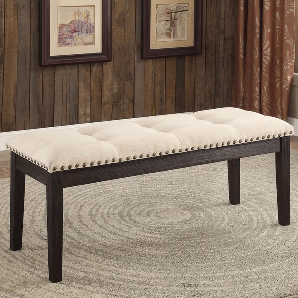 Furniture Of America Denilia Contemporary Ivory Tufted Fabric Dining Bench