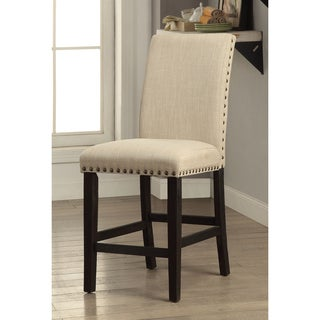 Furniture of America Denilia Contemporary Ivory Fabric Parson Counter Height Chairs (Set of 2)