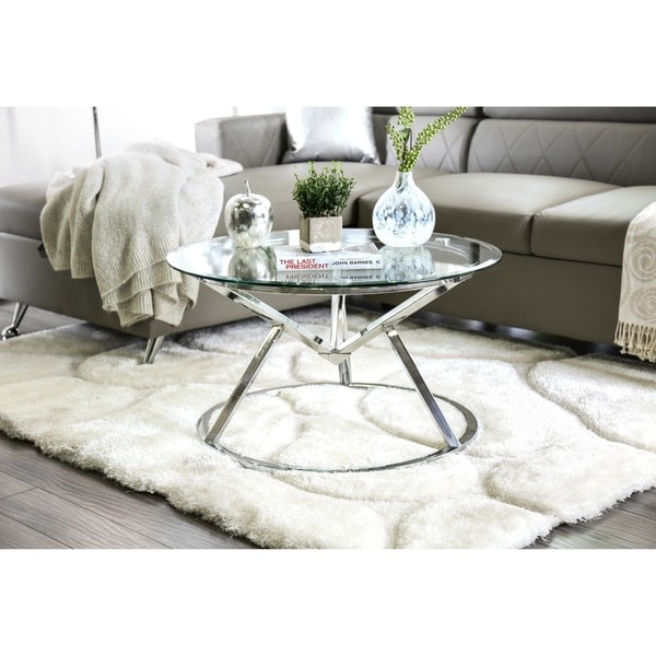 Modern Round Glass And Chrome Coffee Table: Shop Furniture Of America Casey Contemporary Round Glass