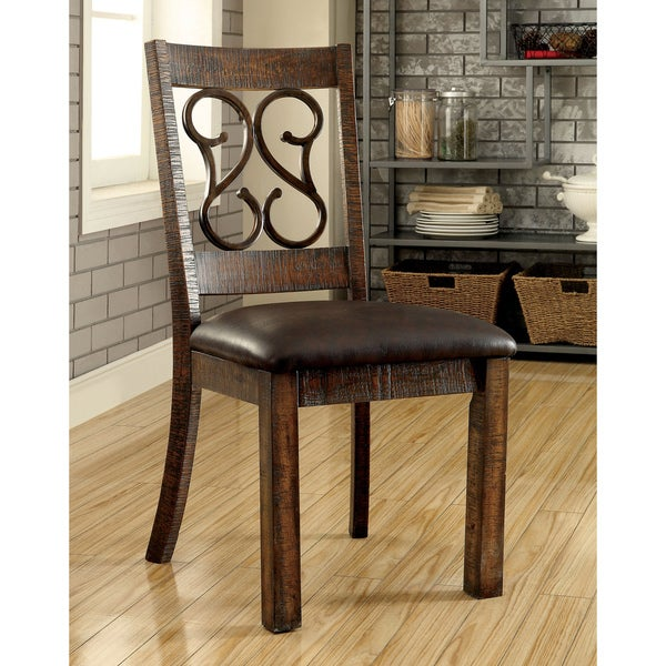 Furniture Of America Chester Traditional Scrolled Metal Leatherette Rustic  Walnut Dining Chair (Set Of 2