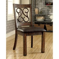 Furniture of America Chester Traditional Scrolled Metal Leatherette Rustic Walnut Dining Chair (Set of 2)