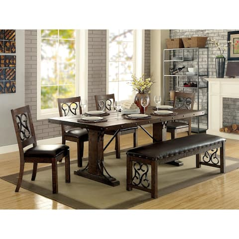 Furniture of America Tood Traditional Walnut Faux Leather Dining Bench