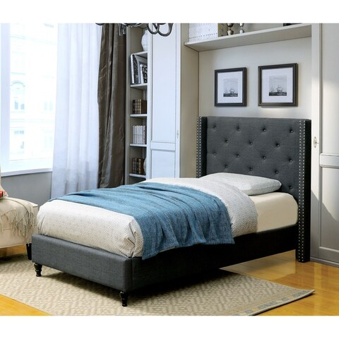 Copper Grove Coronado Contemporary Tufted Linen-like Wingback Platform Bed