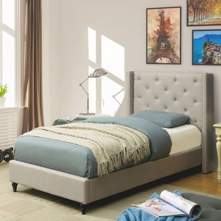 furniture of america ralen contemporary tufted linen like wingback platform bed