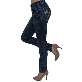Sexy Couture Women's Cotton Blend Mid Rise Stitched Rhinestone Pocket Slim Fitting Jeans