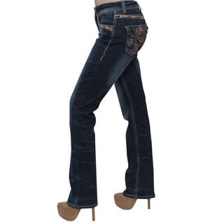 Sexy Couture Women's ID41 Dark-wash Denim Cotton/Polyester/Spandex Rhinestone-embellished Mid-rise Bootcut Jeans