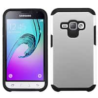 Insten Silver/ Black Hard PC/ Silicone Dual Layer Hybrid Rubberized Matte Case Cover For Samsung Galaxy Amp 2/ J1(2016)