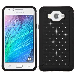 Insten Hard PC/ Silicone Dual Layer Hybrid Rubberized Matte Case Cover with Diamond For Samsung Galaxy J7(2015)