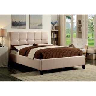 Furniture of America Berwood Contemporary Style Tufted Leatherette Platform Bed